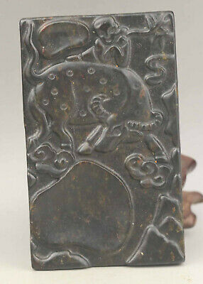 Old Chinese natural jade hand-carved zodiac of ox inkstone