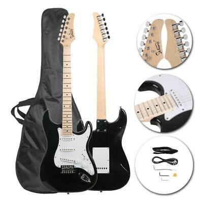 New 22 Frets Black Right-Handed Basswood Electric Guitar Set for Beginner