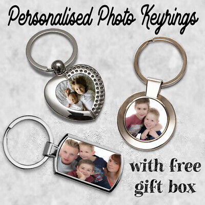 Personalised Metal Keyring Key Ring Printed With Your Photo With FREE GIFT BOX