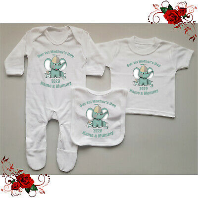 Personalised Baby Grow / T-Shirt / Bib Mother's Day Gift Set - Elephant Style 4