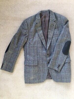 Aquascutum Pure New Wool Tweed Jacket blue grey 40R Leather Elbow Patches P17