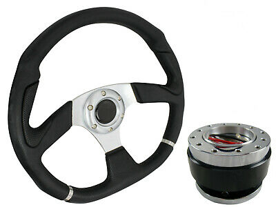 D1 SILVER D-SHAPED Steering Wheel + Quick Release boss kit B29 for MG