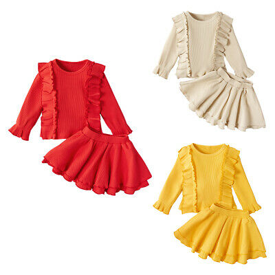 Autumn Cute Baby Girl 2pcs Long Sleeve Top Skirt Set Ruffle Solid Outfits #8Y