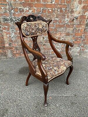 Lovely Antique Victorian Carved Mahogany Armchair - Salon / Bedroom Elbow Chair