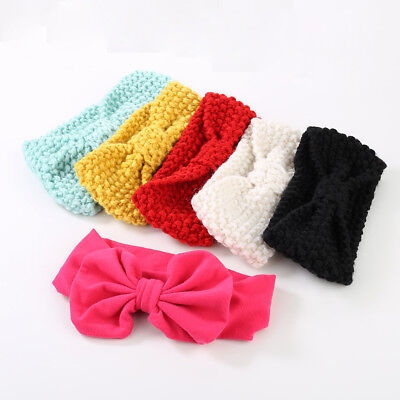 LD_ LN_ LC_ Baby Kids Girl Sweet Bowknot Knit Crochet Headband Hair Band Wrap
