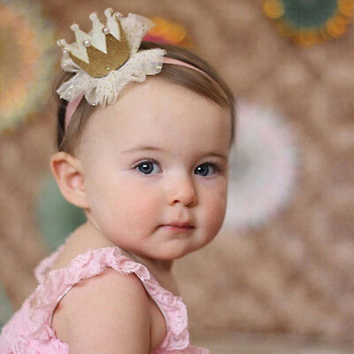 Ld_ Am_ Kids Baby Girl Toddler Lace Crown Hair Band Headwear Headband Accessor