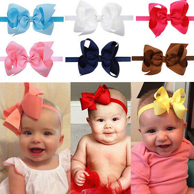 LD_ NE_ Cute Baby Girls Toddler Newborn Big Headband Headwear Hair Bow Photo P