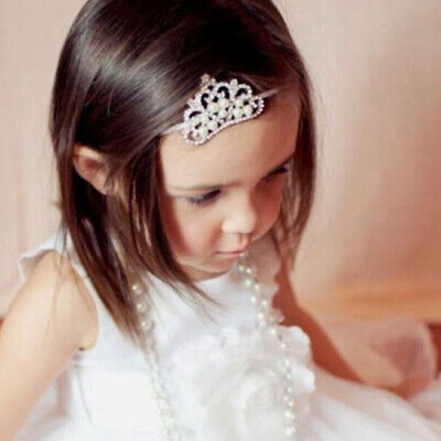 LD_ EE_ Baby Infant Toddler Girl Princess Crown Faux Pearl Headband Hairband H