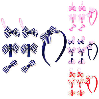 LD_ EG_ 7Pcs/Set Baby Toddler Kids Girl's Bow Headwear Hairpin Hairband Elasti