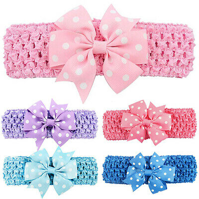 LD_ KQ_ EB_ Women Hair Band Clip Sweet Flower Headband Polka Dot Elastic Acces
