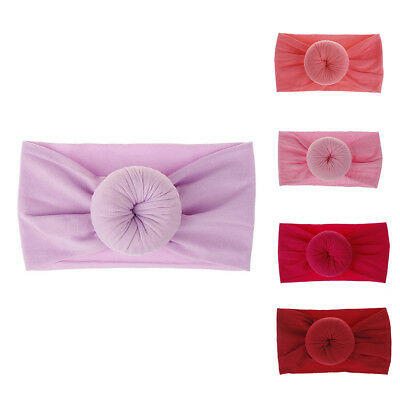 LD_ AS_ AU_ Baby Kids Girls Solid Color Round Ball Soft Hair Band Headband Hea