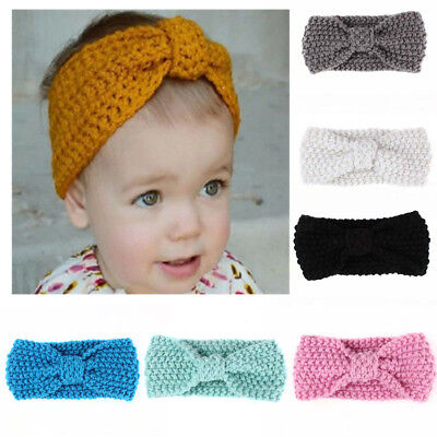LD_ EG_ Baby Kids Girls Bowknot Knitted Headband Hair Band Headwear Photo Prop