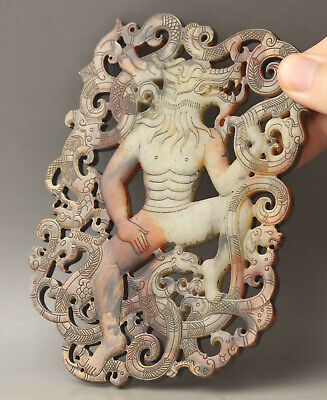 Old Chinese natural jade hand-carved dragon and beastman bi