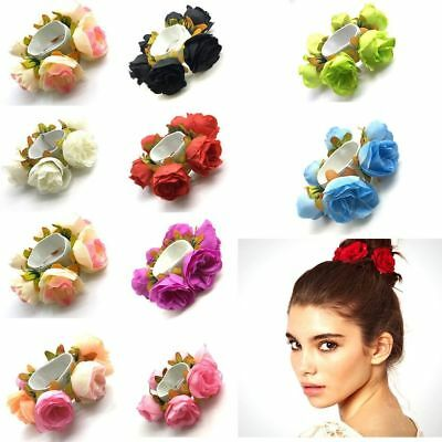 Ld_ Am_ Ee_ Qa_ Fm- Eg_ Women Girl Rose Flower Hair Band Rope Elastic Ponytail
