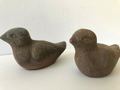 2 Birds Rustic Folk Art Clay Pottery Ceramic Vintage Figurines Garden Farmhouse