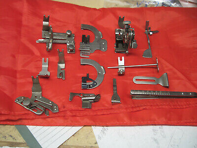 Singer 66 13 Piece Rear Back Clamping Foot Attachment Set Red Eye 1910 Vintage