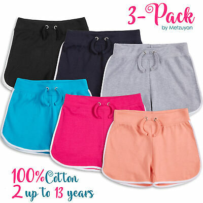 3 Pack Kids Girls 100% Cotton Sport Shorts Breathable School Gymnastic Bundle