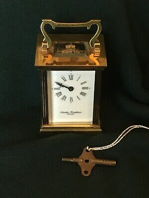 vintage brass carriage clock With Key. Charles Frodsham