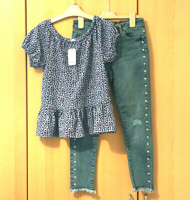 Next Girls Skinny Fit Jeans & Peplum Top Age 10 Years BNWT