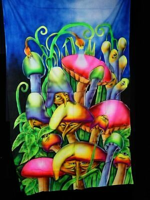 UV-Tuch Airbrush Partydeko Goa Mushroom 1,2 x 2m Mandala Effekt Blacklight 30546