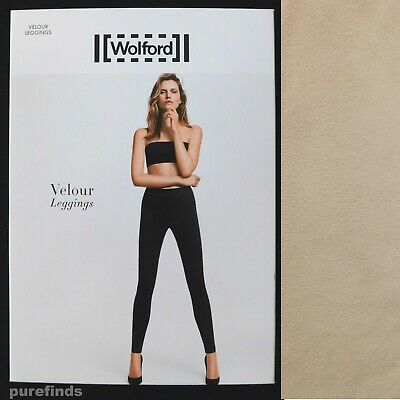 Wolford Velour Light Beige Leggings Size 40 Uk 12 Suede Effect Rrp £225