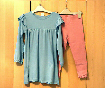 Next Girls Blue Ruffle Dress & Pink Leggings Age 5-6 Years BNWT