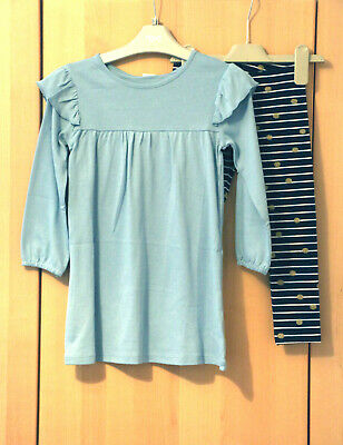 Next Girls Blue Ruffle Dress & Navy Leggings Age 5-6 Years BNWT