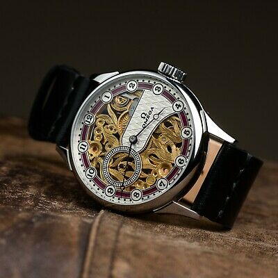 Skeleton mechanical watch for mens pocket watch in art deco case and dial