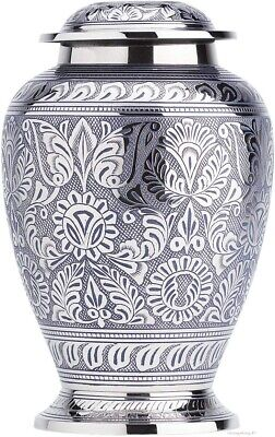 Funeral Urn ~ Cremation Urn for Human Ashes ~ Silver Large/Adult Urn