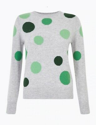 BNWT M&S Autograph Pure Cashmere Grey Polka Dot Jumper Size 24 – RRP £99!