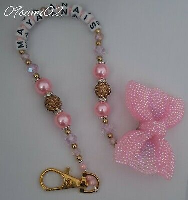 Personalised Girls Bling Dummy Clip Shamballa & Crystal Glitter Bow Romany!!❤