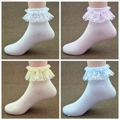 Vintage Lace Ruffle Frilly Ankle Socks Princess Girls Solid Color Cotton Socks