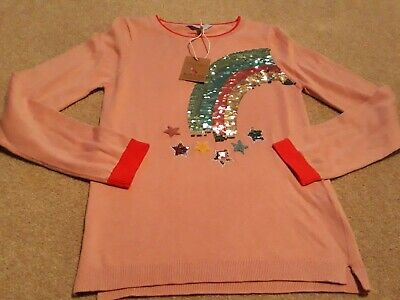 Joules Girls Age 11-12 Years Sequins Pink Rainbow Jumper  Bnwt