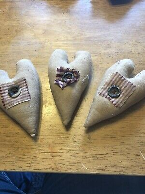 3 Primitive Hearts Ornies / Bowl Fillers