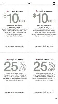 Macy's Star Pass Offers! 2 x $10 off & 2 x 25% off Coupons, Expires 5/10/20
