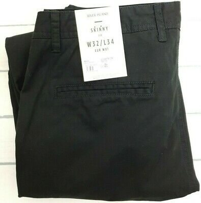 River Island Mens Black Skinny SID Cotton Chino Trousers Pants Size W32 L34