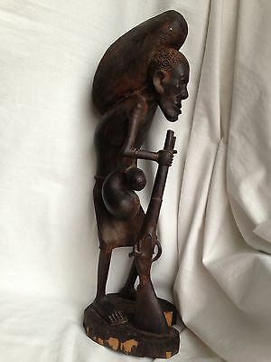 Vintage Authentic Large African Wood Hand Carving Sculpture 'Man with rifle'