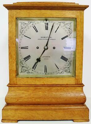 Antique English Richard Webster Golden Oak Twin Fusee Library Bracket Clock