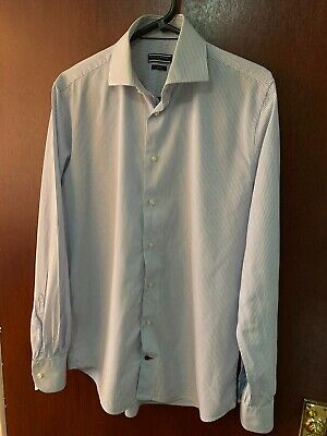 Tommy Hilfiger Tailored Formal Navy Pencil Striped Shirt Size 15.5 Fitted Used.