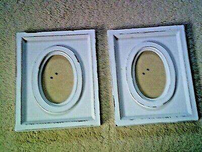 Two Vintage Shabby Chic White Picture Frames