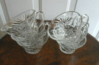 6 Anchor Hocking EAPC Early American Prescut Punch Cups Clear Oatmeal Glass
