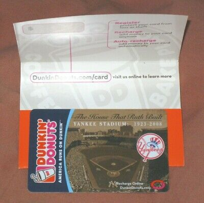 New York NY Yankees Stadium Dunkin' Donuts Gift Card (Baseball Champs Champions)