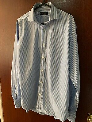 Ralph Lauren Black Label Formal Shirt Blue Stripped Size 16 Fitted. Used