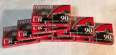 Blank Maxell Cassettes Audio 90 Minute Tapes New Lot Of 7 UR Normal Bias Sealed