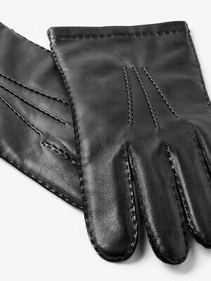 Men's Leather Gloves With Merino Wool Lining By John Lewis RRP, £35 BLACK