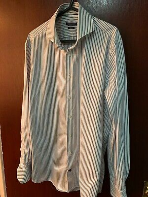 Tommy Hilfiger Tailored Formal Shirt Navy Stripped Slim Fit Size 16 Collar. Used