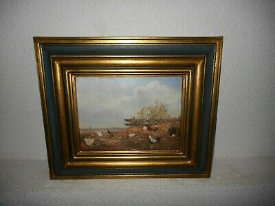 Old oil painting, ( Landscape with roosters and chickens, nice frame! ).