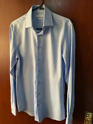 Calvin Klein Blue Formal Shirt Size 15 CK Logo Chest Fitted Fit Single Cuff