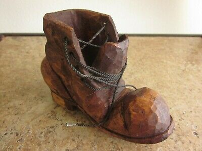Vintage Hand Carved Wooden Shoe Work Boot w/ Laces Signed Hobo Shoe
