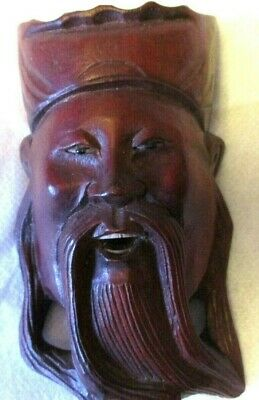Very Rare Antique Chinese Hand Carved Face Mask Glass Eyes